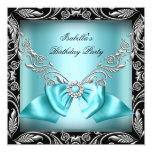 Fiesta de cumpleaños azul del negro de la plata invitaciones personales