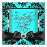 Fiesta de cumpleaños azul del negro de la plata invitación 13,3 cm x 13,3cm