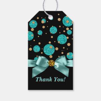 Fiesta de cumpleaños azul del oro del trullo etiquetas para regalos