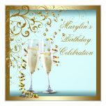 Fiesta de cumpleaños azul del trullo de la mujer invitaciones personalizada