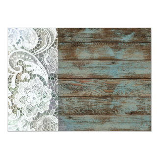 fiesta de cumpleaños azul del vintage del barnwood invitación 11,4 x 15,8 cm