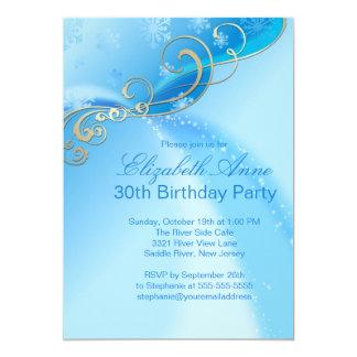 Fiesta de cumpleaños azul moderna del invierno de invitación 12,7 x 17,8 cm