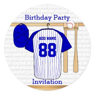 """Fiesta de cumpleaños azul y blanca del jersey de invitación 5.25"""" x 5.25"""""""