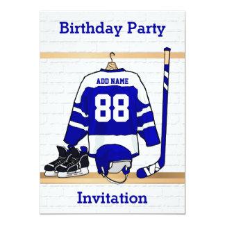 Fiesta de cumpleaños azul y blanca del jersey del invitación 12,7 x 17,8 cm