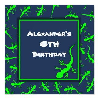 """Fiesta de cumpleaños azul y verde del tema de los invitación 5.25"""" x 5.25"""""""