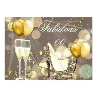 """Fiesta de cumpleaños beige de Champán del oro Invitación 5"""" X 7"""""""