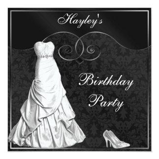 Fiesta de cumpleaños blanca atractiva de la plata comunicados personales