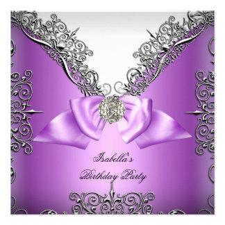 Fiesta de cumpleaños blanca de plata púrpura anuncio