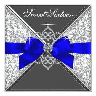 Fiesta de cumpleaños blanca del dulce 16 del azul invitación 13,3 cm x 13,3cm
