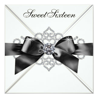 """Fiesta de cumpleaños blanca del dulce 16 del negro invitación 5.25"""" x 5.25"""""""
