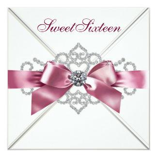 """Fiesta de cumpleaños blanca del dulce 16 del rosa invitación 5.25"""" x 5.25"""""""