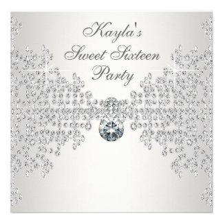 Fiesta de cumpleaños blanca del dulce dieciséis de invitaciones personales