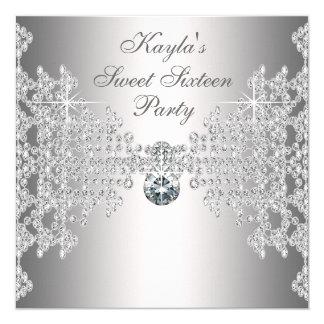 Fiesta de cumpleaños blanca del dulce dieciséis de invitación 13,3 cm x 13,3cm