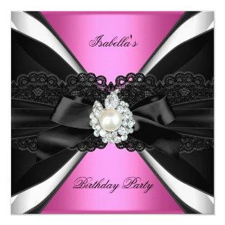 """Fiesta de cumpleaños blanca del negro rosado invitación 5.25"""" x 5.25"""""""
