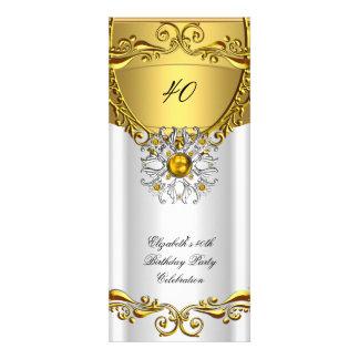 Fiesta de cumpleaños blanca del oro de la joya de invitación personalizada