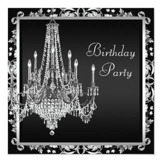 """Fiesta de cumpleaños blanca negra de la lámpara invitación 5.25"""" x 5.25"""""""