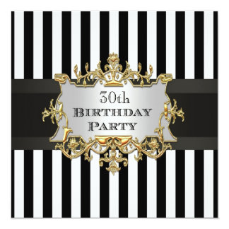 """Fiesta de cumpleaños blanca negra de la raya Invit Invitación 5.25"""" X 5.25"""""""