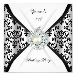 Fiesta de cumpleaños blanca negra del diamante de invitación 13,3 cm x 13,3cm