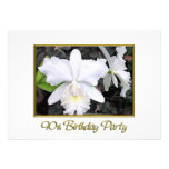 Fiesta de cumpleaños blanca quebradiza de las orqu invitacion personal