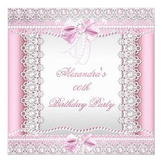 """Fiesta de cumpleaños blanca rosada bonita del arco invitación 5.25"""" x 5.25"""""""