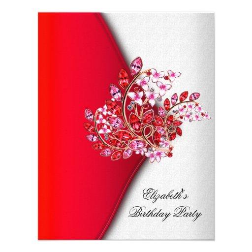 Fiesta de cumpleaños blanca rosada roja elegante d invitaciones personales