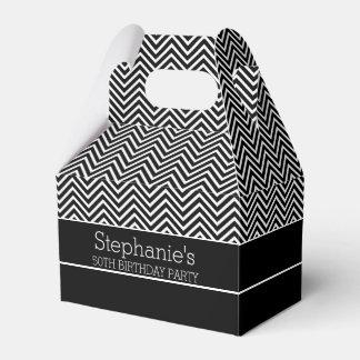 Fiesta de cumpleaños blanco y negro de los galones caja para regalos