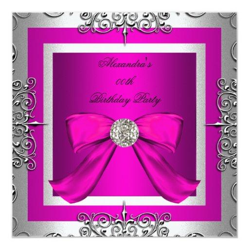 """Fiesta de cumpleaños bonita elegante de la plata invitación 5.25"""" x 5.25"""""""