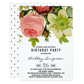 """Fiesta de cumpleaños botánica del vintage de las invitación 5"""" x 7"""""""