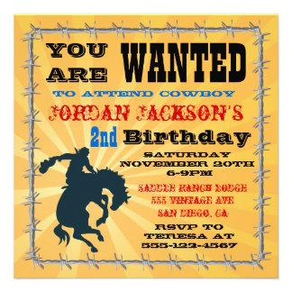 Fiesta de cumpleaños Bucking del vaquero del cabal Invitaciones Personalizada