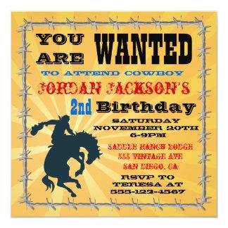 Fiesta de cumpleaños Bucking del vaquero del Invitaciones Personalizada