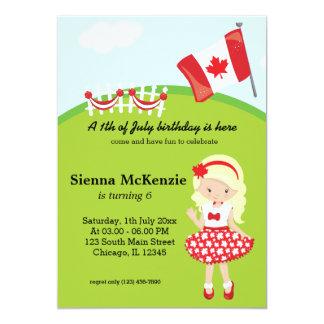 """Fiesta de cumpleaños canadiense invitación 5"""" x 7"""""""