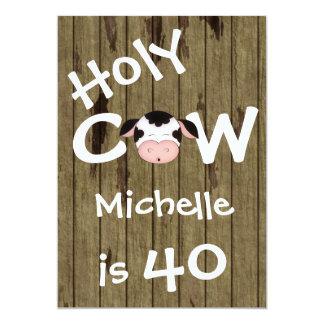 """Fiesta de cumpleaños chistosa de la vaca 40.a invitación 5"""" x 7"""""""