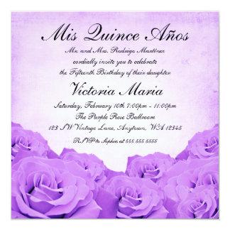 """Fiesta de cumpleaños color de rosa púrpura de invitación 5.25"""" x 5.25"""""""