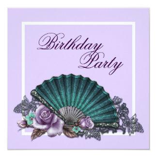 Fiesta de cumpleaños color de rosa púrpura de la anuncio