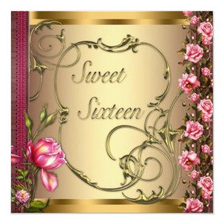 Fiesta de cumpleaños color de rosa rosada del invitación personalizada
