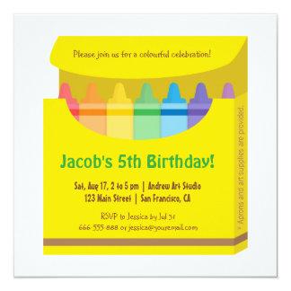 """Fiesta de cumpleaños colorida brillante de los invitación 5.25"""" x 5.25"""""""