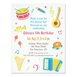 """Fiesta de cumpleaños colorida de los niños de los invitación 4.25"""" x 5.5"""""""