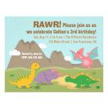 Fiesta de cumpleaños colorida linda del dinosaurio