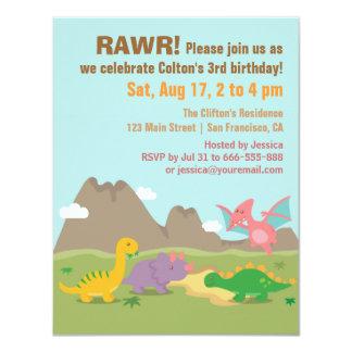 """Fiesta de cumpleaños colorida linda del dinosaurio invitación 4.25"""" x 5.5"""""""