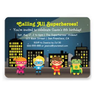 Fiesta de cumpleaños colorida linda del super héro comunicados personales