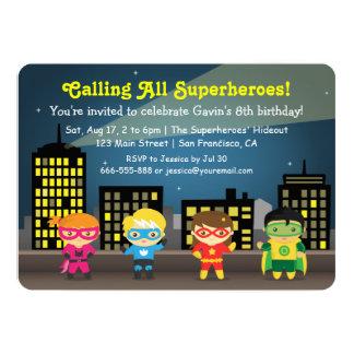 """Fiesta de cumpleaños colorida linda del super invitación 5"""" x 7"""""""