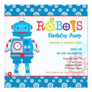 """Fiesta de cumpleaños colorida moderna del muchacho invitación 5.25"""" x 5.25"""""""