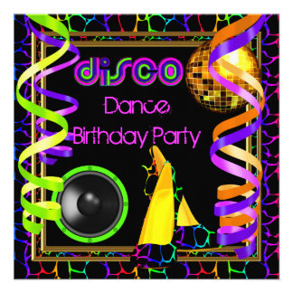 Fiesta de cumpleaños colorida retra de la danza de comunicados personales