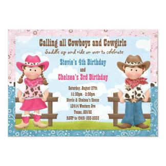 """Fiesta de cumpleaños común del hermano del vaquero invitación 5"""" x 7"""""""
