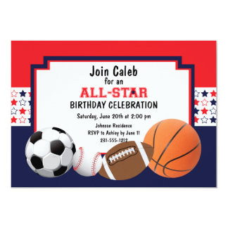 """Fiesta de cumpleaños de Allstar - deportes Invitación 5"""" X 7"""""""