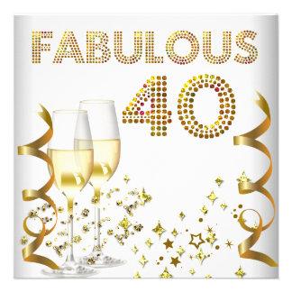 Fiesta de cumpleaños de Champán del oro fabuloso 4 Comunicado Personalizado