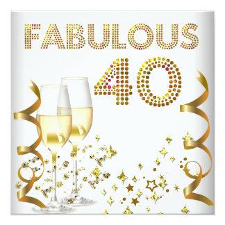 Fiesta de cumpleaños de Champán del oro fabuloso Comunicado Personalizado