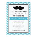 Fiesta de cumpleaños de Chevron del bigote del Invitación Personalizada