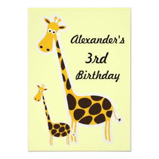 Fiesta de cumpleaños de Childs de las jirafas Invitaciones Personalizada