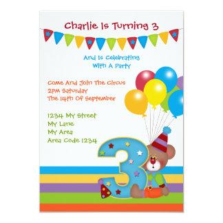 Fiesta de cumpleaños de ClownThird del oso de Invitación Personalizada